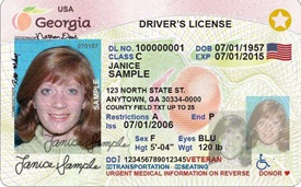state of Georgia sample driver's license that is compliant with REALID