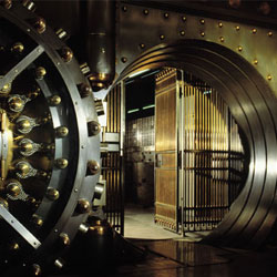 Photo of a bank vault door