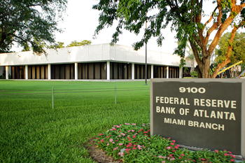 Color photo of the Federal Reserve Bank of Atlanta's Miami Branch building