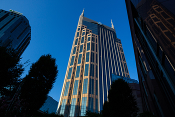 Color photo of the AT&T building in Nashville, TN