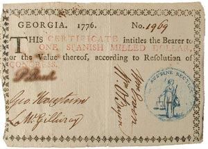 Georgia paper money certificate