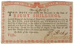 "New York ""water works"" paper money note"