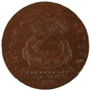 Fugio cent of 1787--first coin authorized by Congress