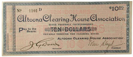 $10 scrip from Altoona (pennsylvania) Clearing House