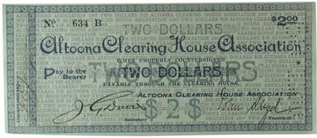 1907 $2 scrip from Altoona Clearing House