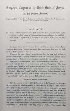 reproduction of the Federal Reserve Act