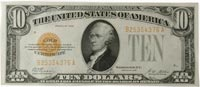 $10 1928 US gold certificate