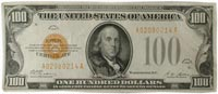 $100 1928 US gold certificate