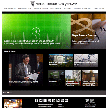 Atlanta Fed redesigned homepage