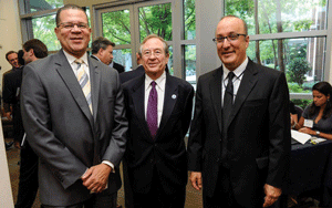 Fulton County Chairman John Eaves, World Affairs Council Executive Vice President Cedric Suzman, and Stephen Kay at a Brazilian American Chamber of Commerce panel on Brazil's Economy.