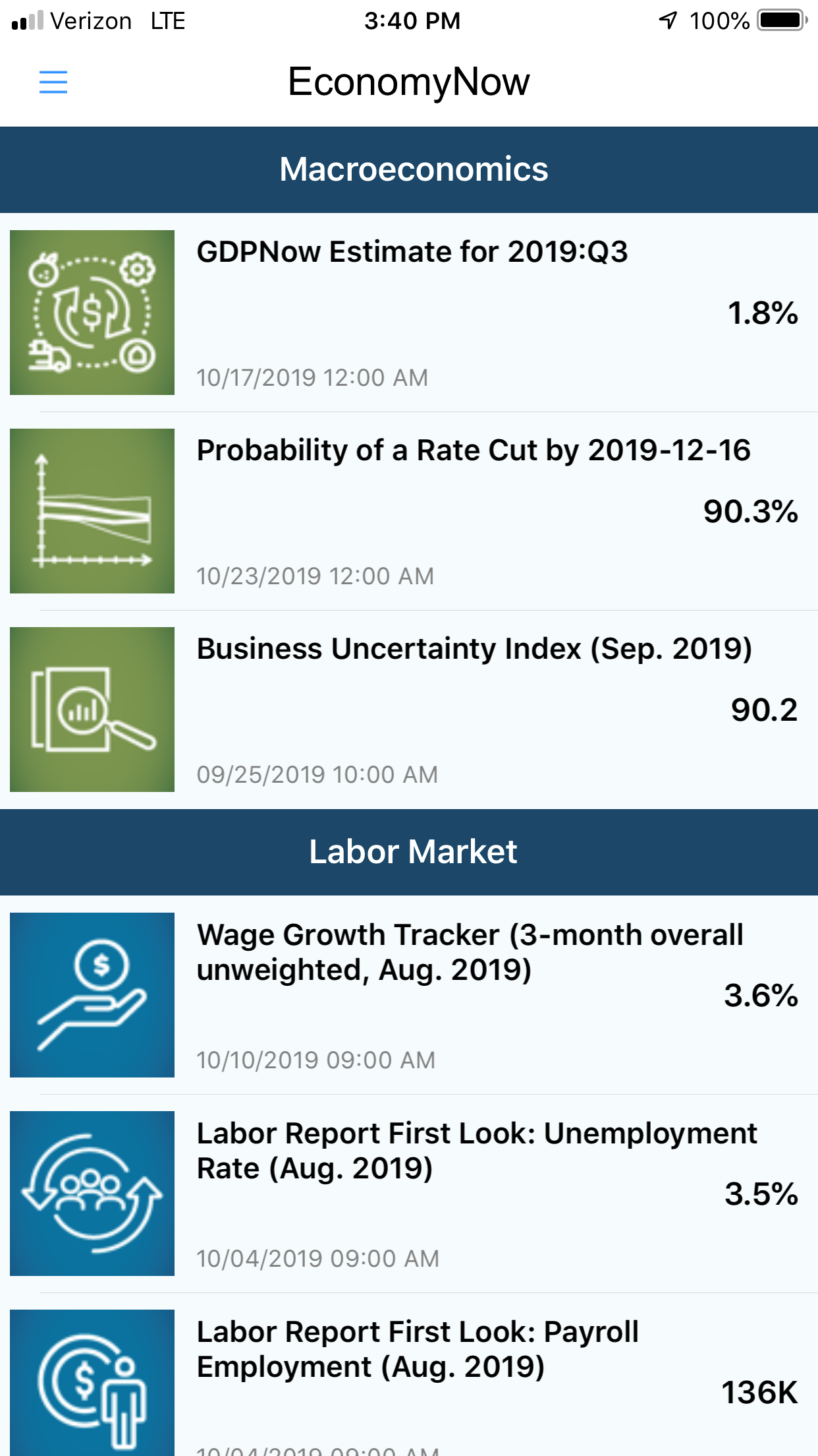 screenshot of the EconomyNow app showing the list of tools