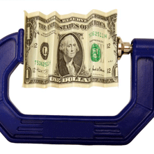 dollar bill in a clamp