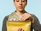 woman using cash