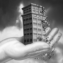 graphic of hand holding crumbling building
