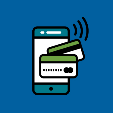 illustration of a mobile phone and credit cards