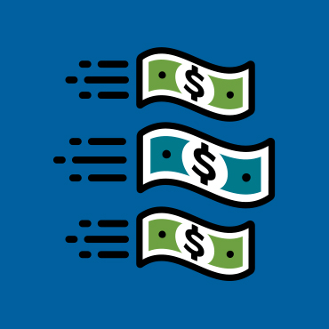 illustration of three dollar bills speeding together to the right