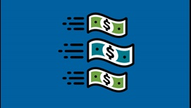 illustration of credit cards, three dollar bills speeding together to the right, and a signed check