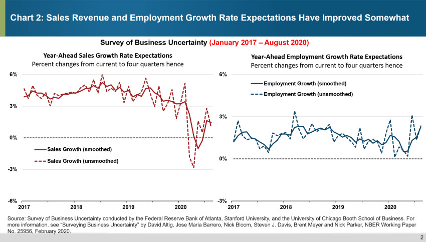 Chart 2: Sales Revenue and Employment Growth Rate Expectations have Improved Somewhat