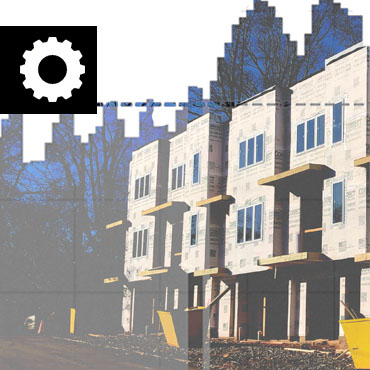 illustration of a series of townhomes inset with a jagged bar chart with a dashed line