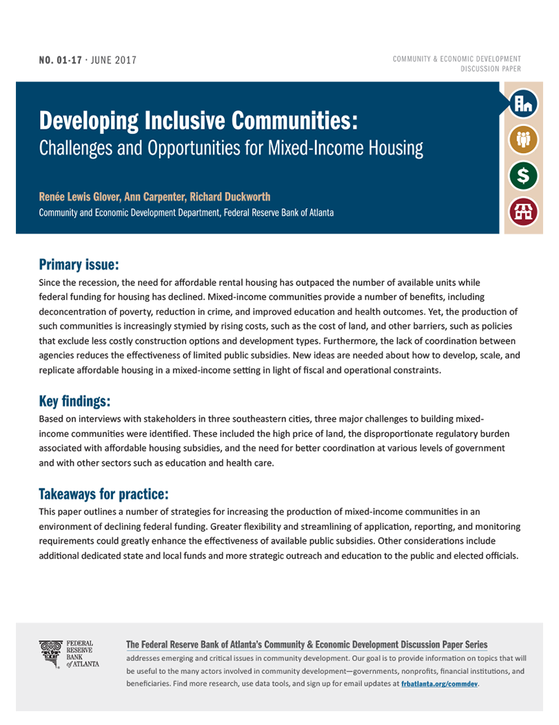 cover page of Developing Inclusive Communities paper