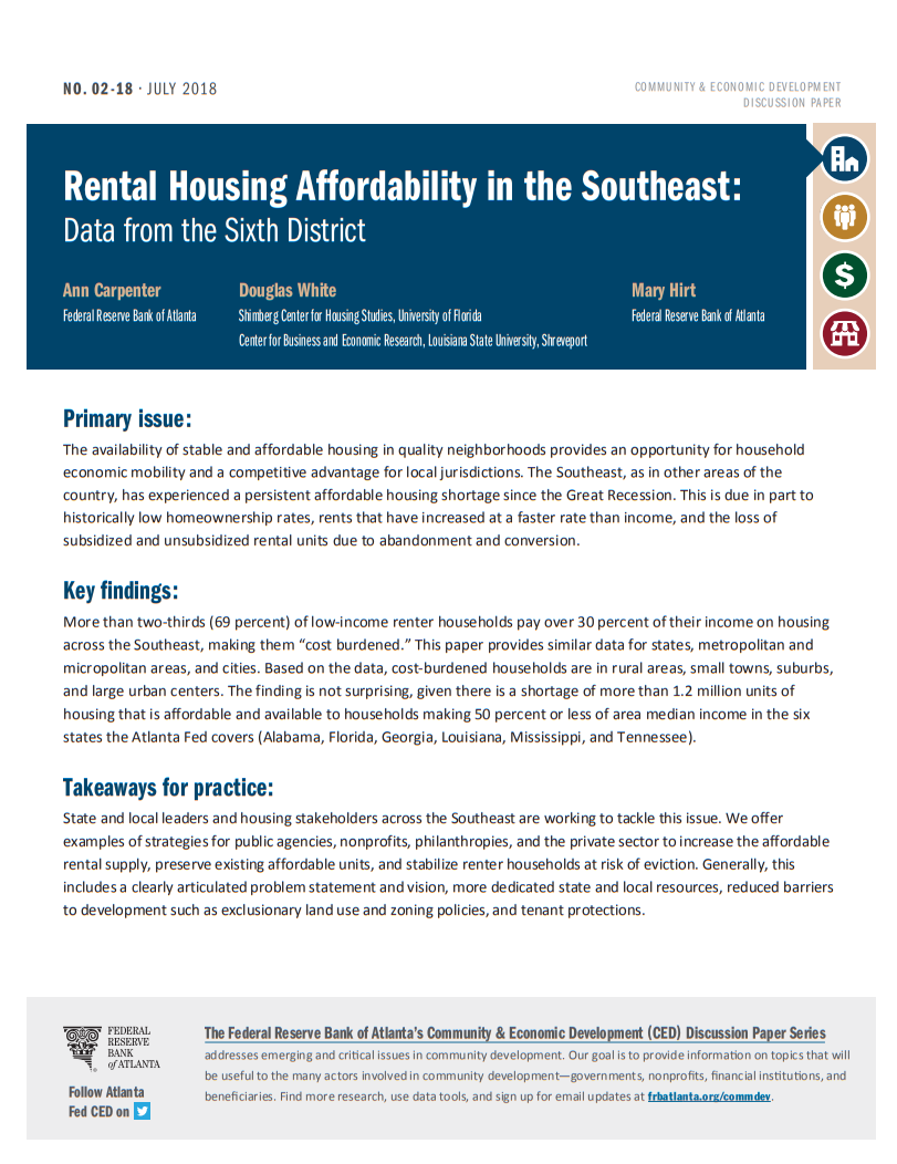 cover page of Rental Housing Affordability in the Southeast paper