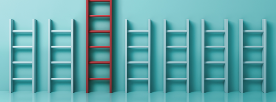 photo illustration of a series of short white ladders against a wall with one taller red ladder among them