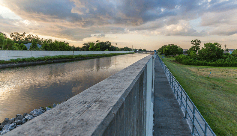 The London Avenue Canal, which takes rainwater from New Orleans to Lake Pontchartrain. Katrina's waters breached it, causing considerable destruction and fatalities.