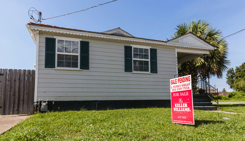 A pending home sale in the Little Woods neighborhood of New Orleans.