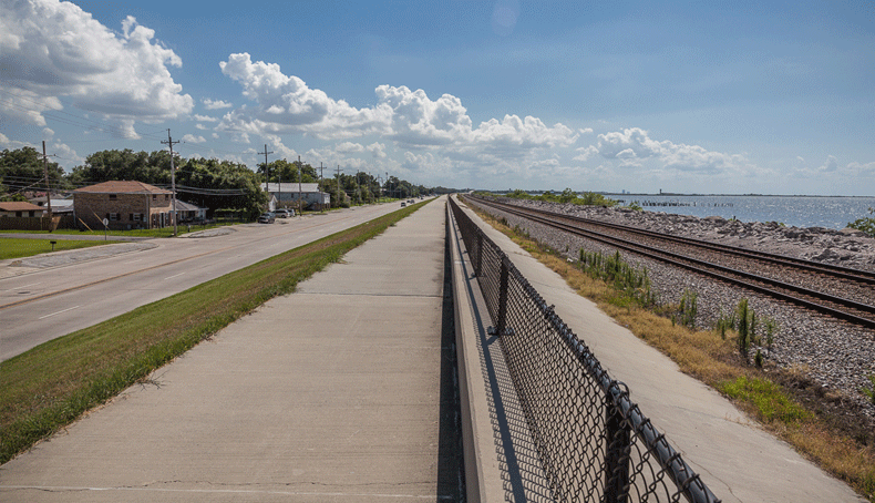 A levee near the shores of Lake Pontchartrain.