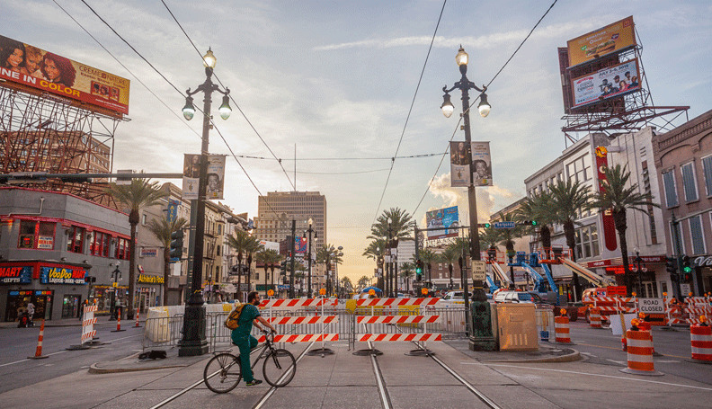 Construction on downtown New Orleans's Canal Street in July 2015.