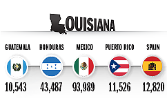 Top Countries of Origin for Hispanic Population in 2014, Louisiana