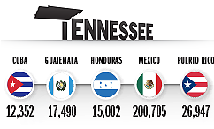 Top Countries of Origin for Hispanic Population in 2014, Tennessee