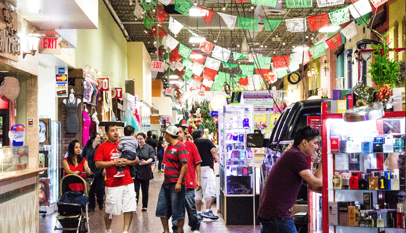 Inside Plaza Fiesta, a Hispanic-oriented shopping mall in metro Atlanta.