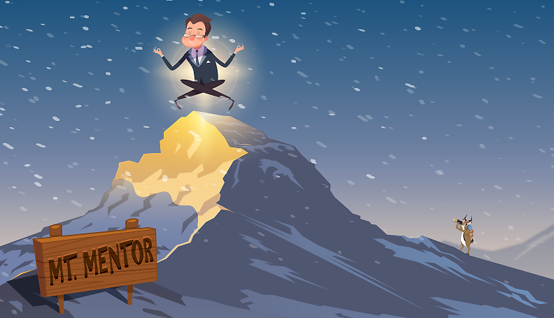 illustration of a businessman meditating atop a snowy mountain