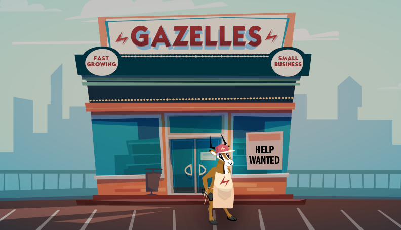 illustration of gazelle dressed as store owner outside a building
