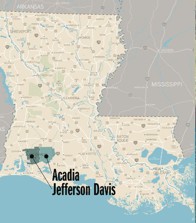map of Acadia and Jefferson Davis parishes in Louisiana