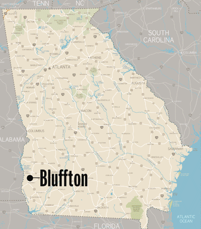 map showing city of Bluffton, Georgia