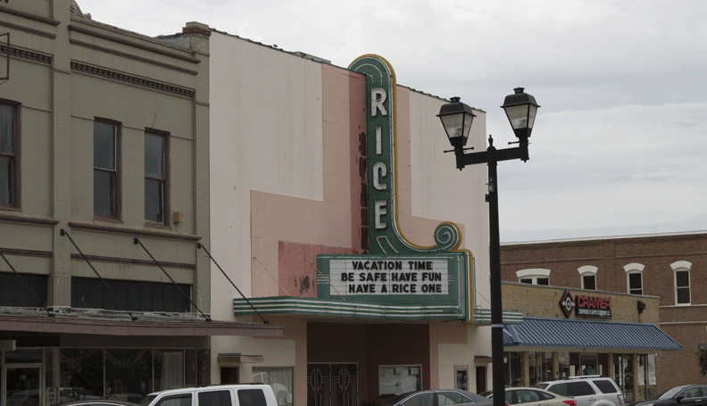 the Rice, a 77-year-old downtown movie house in Crowley, Louisiana