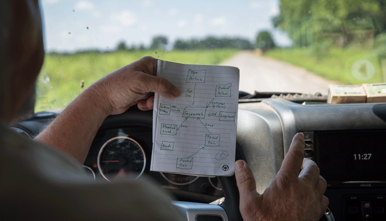 inside his Jeep, Will Harris holds up a notepad sketch of what his land produces