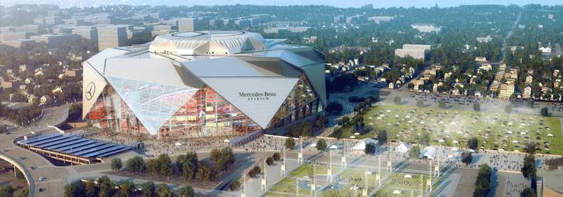 panoramic photograph of Atlanta's Mercedes-Benz Stadium