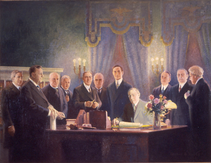Signing of the Federal Reserve Act; Courtesy of Woodrow Wilson Presidential Library; Painting by Wilbur G. Kurtz