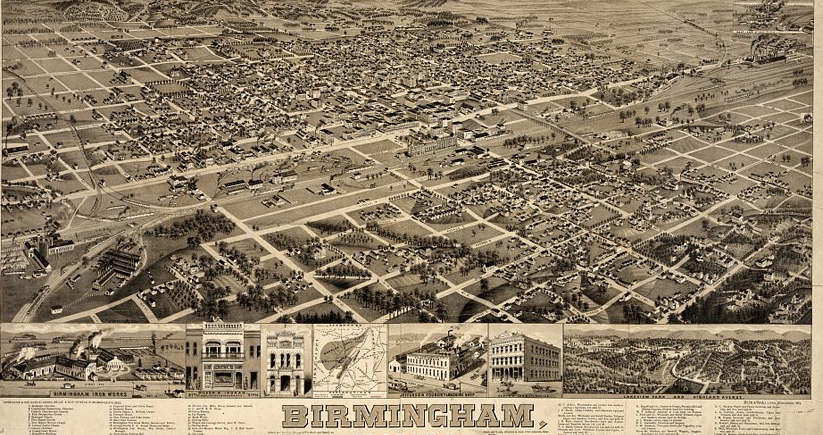 From 1885, a composite of bird's-eye views of Birmingham, Alabama. Image courtesy of the Library of Congress Photographic Archives
