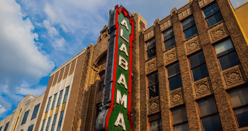 Built in 1927 by Paramount Studios as a showcase for that studio's films, the Alabama Theatre was renovated in 1998. One of three historic theaters in downtown Birmingham, the Alabama today hosts live events and films. Photo by Kendrick Disch