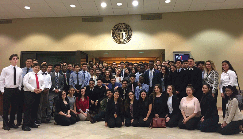 High-school sophomores enrolled in an Academy of Finance career program visited the Atlanta Fed's Miami Branch on Career Day to learn about jobs.