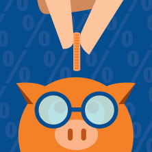 illustration of person putting coin in a piggy bank with glasses
