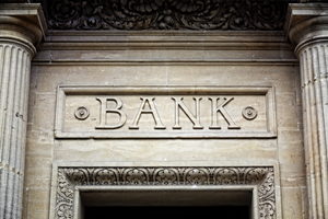 facade of bank building with stonecut letters