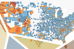 map of U.S. metropolitan statistical areas in various colors