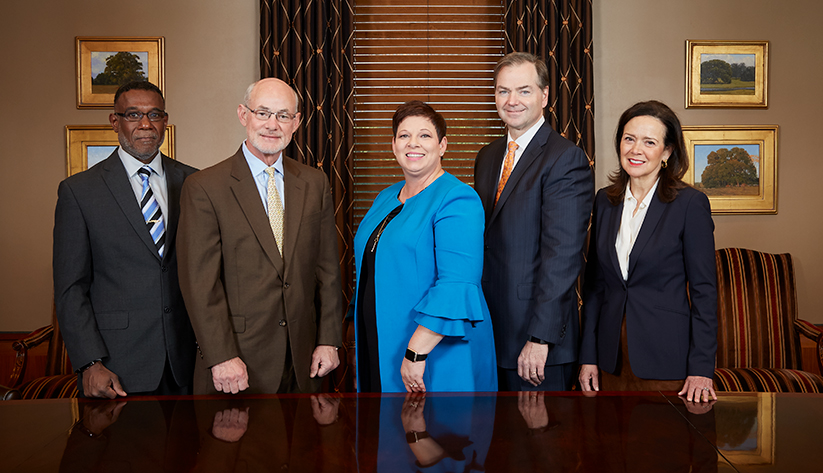2018 New Orleans Board of Directors: Michael E. Hicks, Lampkin Butts, G. Janelle Frost, Phillip R. May,  Suzanne T. Mestayer. Not pictured: Elizabeth R. Ardoin, Art E. Favre