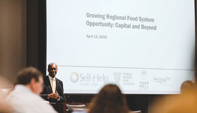 Atlanta Fed President Raphael Bostic said lack of access to healthy food is a problem in both rural and urban lower-income communities.