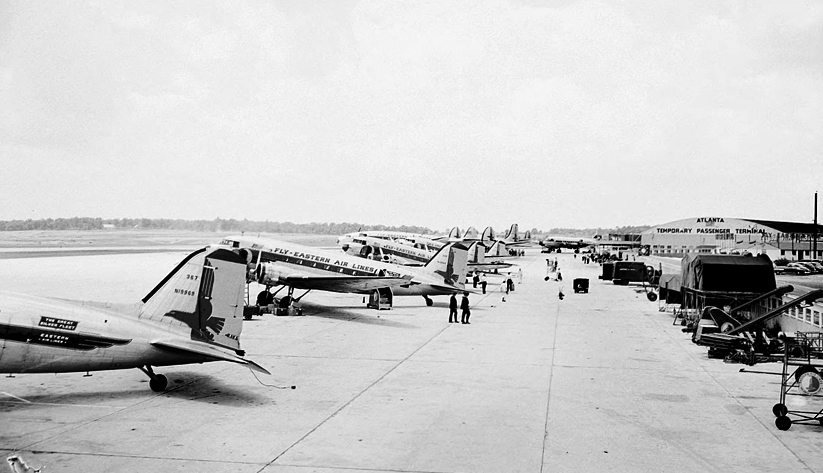 In 1949, Eastern Air Lines's fleet at Atlanta Municipal Airport, with the Temporary Passenger Ternimal in the background. Photo courtesy the Special Collections and Archives, Georgia State University Library